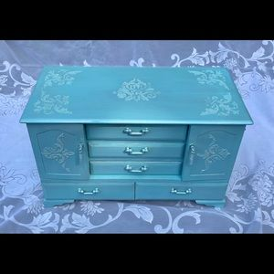 Shimmering Teal Vintage Wooden Jewelry Box